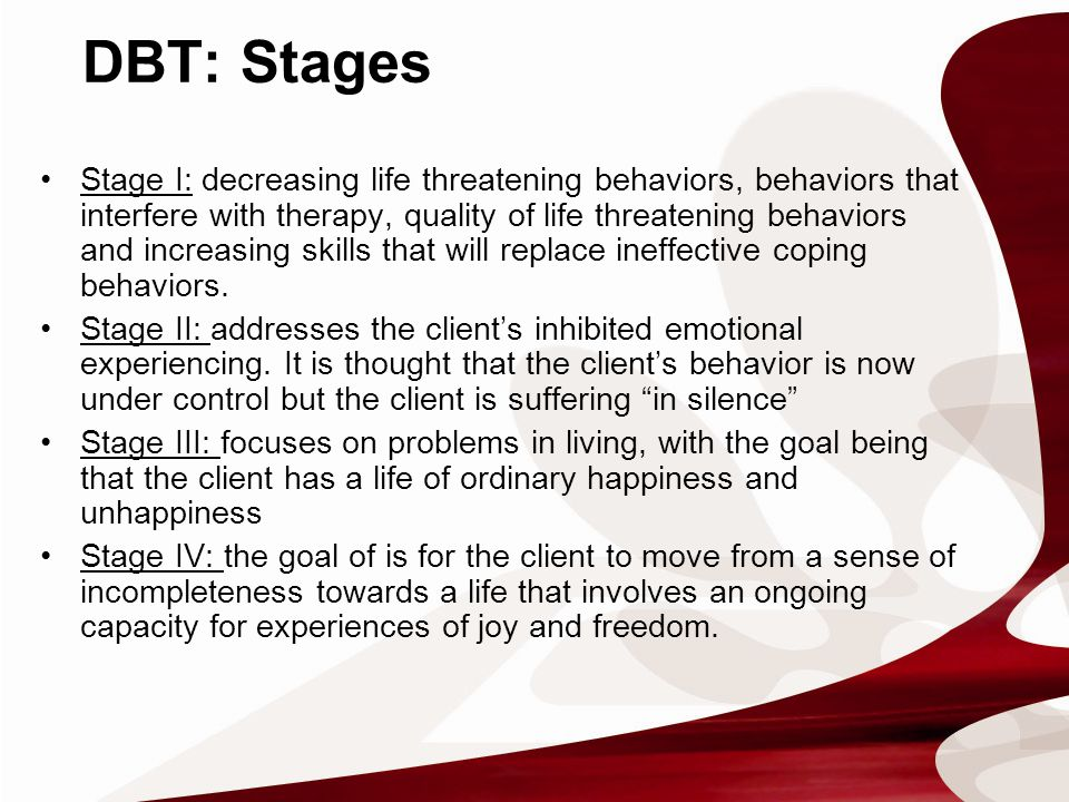 Stage I: decreasing life threatening behaviors, behaviors that interfere with therapy, quality of life threatening behaviors and increasing skills that will replace ineffective coping behaviors.