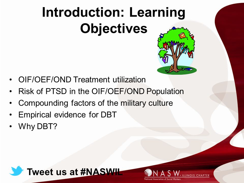 Introduction: Learning Objectives OIF/OEF/OND Treatment utilization Risk of PTSD in the OIF/OEF/OND Population Compounding factors of the military culture Empirical evidence for DBT Why DBT.