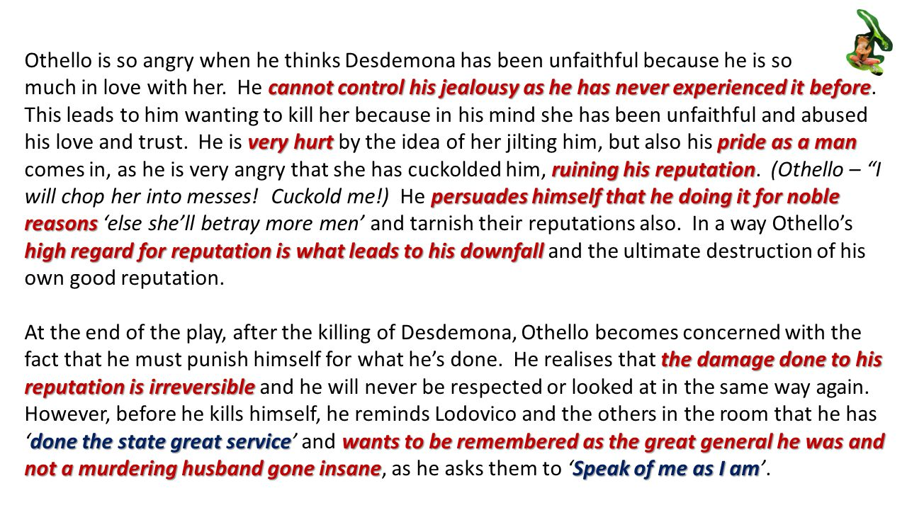 speech on jealousy in othello Essay othello: othello and desdemona the weakness of the brave othello is famous art of work that focuses on the dangers of jealousy the play is a study of how jealousy can be fueled by mere circumstantial evidence and can destroy lives and change people's integrity.