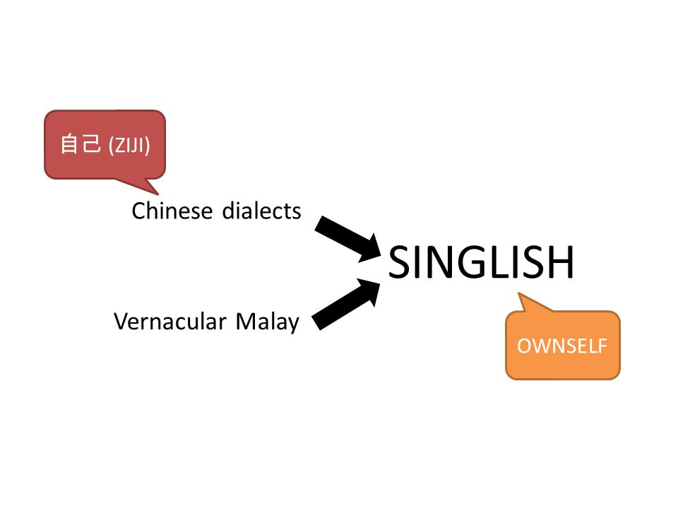 SINGLISH Chinese dialects Vernacular Malay 自己 (ZIJI) OWNSELF