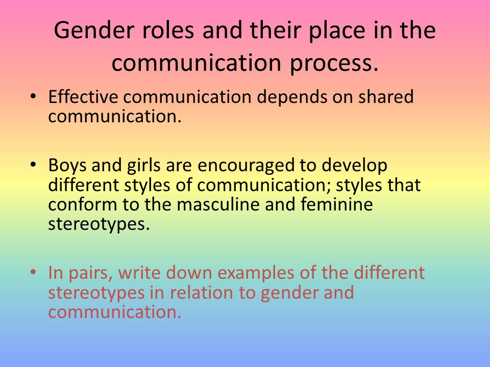 Gender roles and their place in the communication process. Effective communication depends on shared communication. Boys and girls are encouraged to d