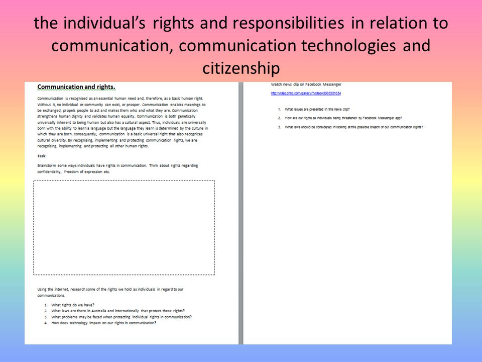the individual's rights and responsibilities in relation to communication, communication technologies and citizenship
