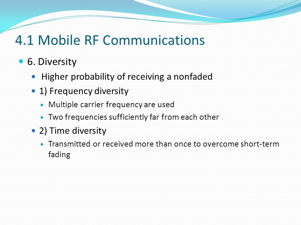 4.1 Mobile RF Communications 6.