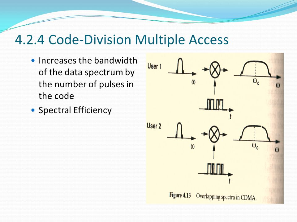4.2.4 Code-Division Multiple Access Increases the bandwidth of the data spectrum by the number of pulses in the code Spectral Efficiency