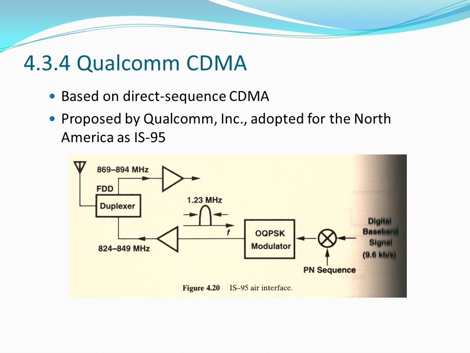 4.3.4 Qualcomm CDMA Based on direct-sequence CDMA Proposed by Qualcomm, Inc., adopted for the North America as IS-95
