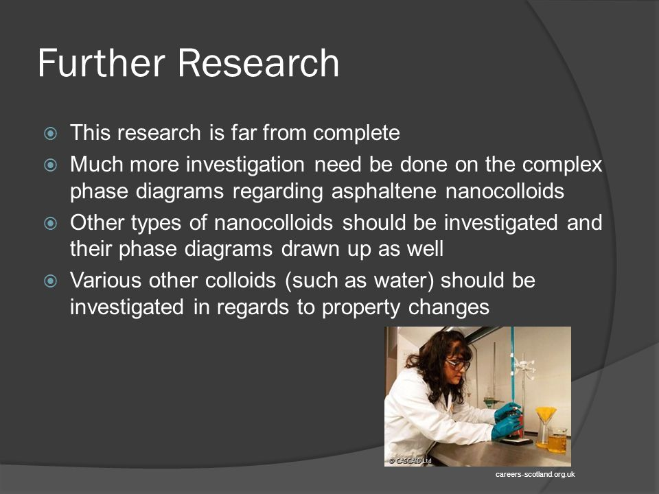 Further Research  This research is far from complete  Much more investigation need be done on the complex phase diagrams regarding asphaltene nanocolloids  Other types of nanocolloids should be investigated and their phase diagrams drawn up as well  Various other colloids (such as water) should be investigated in regards to property changes careers-scotland.org.uk