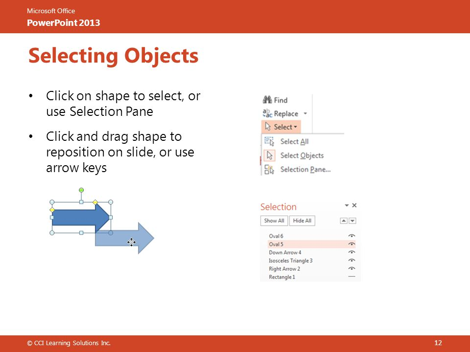 Microsoft Office PowerPoint 2013 Selecting Objects Click on shape to select, or use Selection Pane Click and drag shape to reposition on slide, or use arrow keys © CCI Learning Solutions Inc.