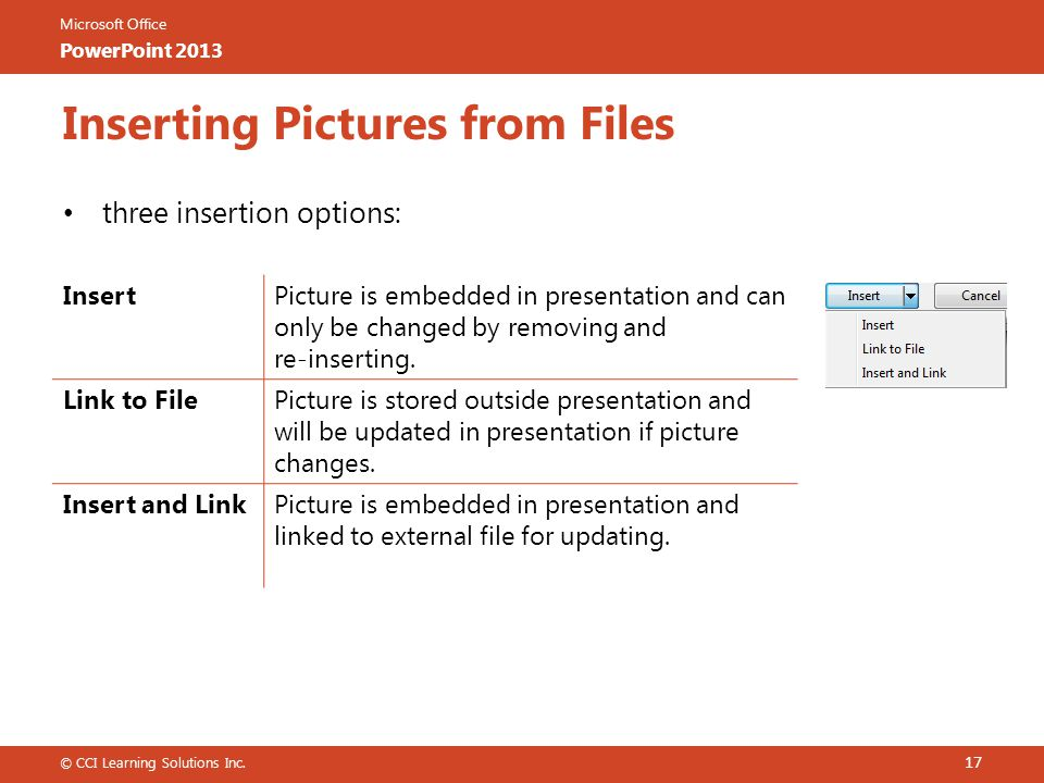 Microsoft Office PowerPoint 2013 Inserting Pictures from Files three insertion options: © CCI Learning Solutions Inc.