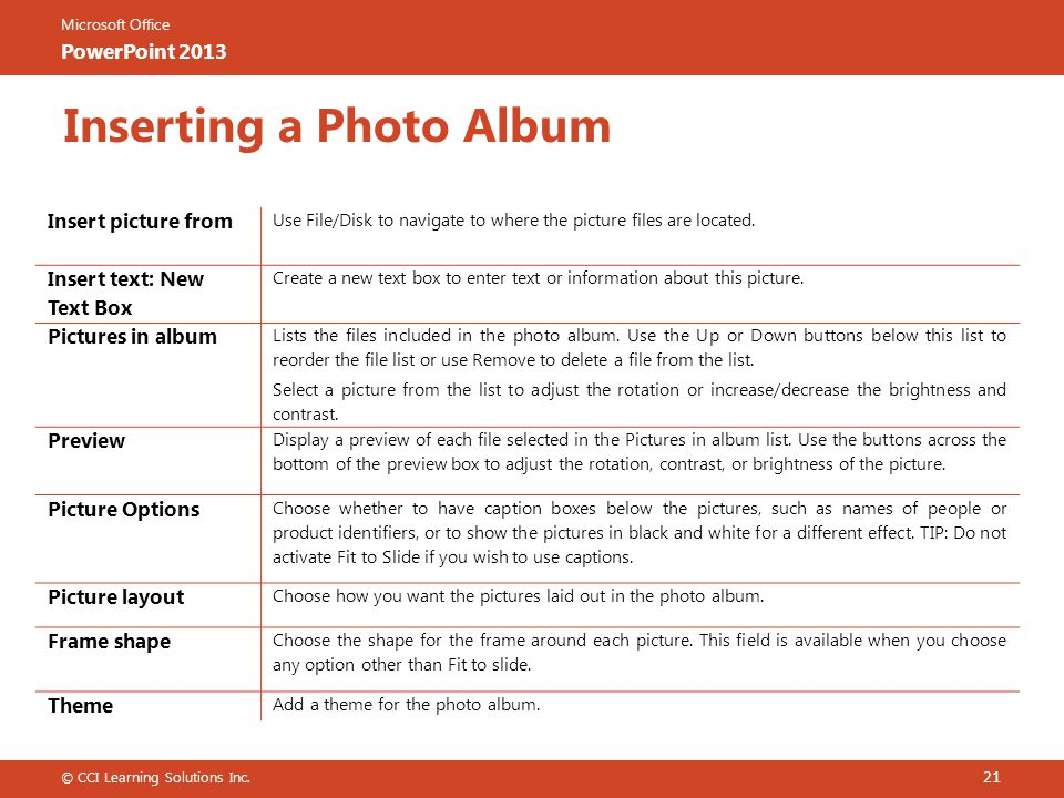Microsoft Office PowerPoint 2013 Inserting a Photo Album 21 © CCI Learning Solutions Inc.