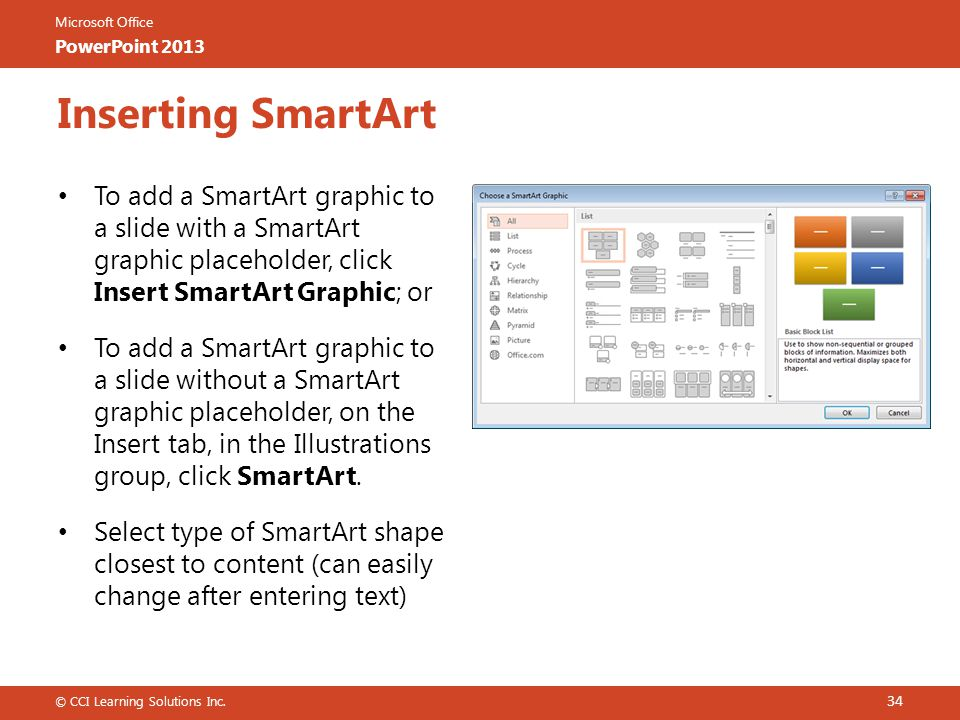 Microsoft Office PowerPoint 2013 Inserting SmartArt To add a SmartArt graphic to a slide with a SmartArt graphic placeholder, click Insert SmartArt Graphic; or To add a SmartArt graphic to a slide without a SmartArt graphic placeholder, on the Insert tab, in the Illustrations group, click SmartArt.