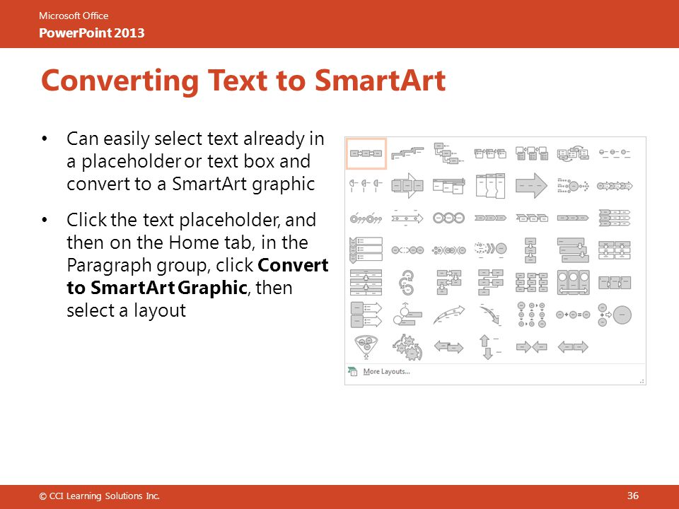 Microsoft Office PowerPoint 2013 Converting Text to SmartArt Can easily select text already in a placeholder or text box and convert to a SmartArt graphic Click the text placeholder, and then on the Home tab, in the Paragraph group, click Convert to SmartArt Graphic, then select a layout © CCI Learning Solutions Inc.