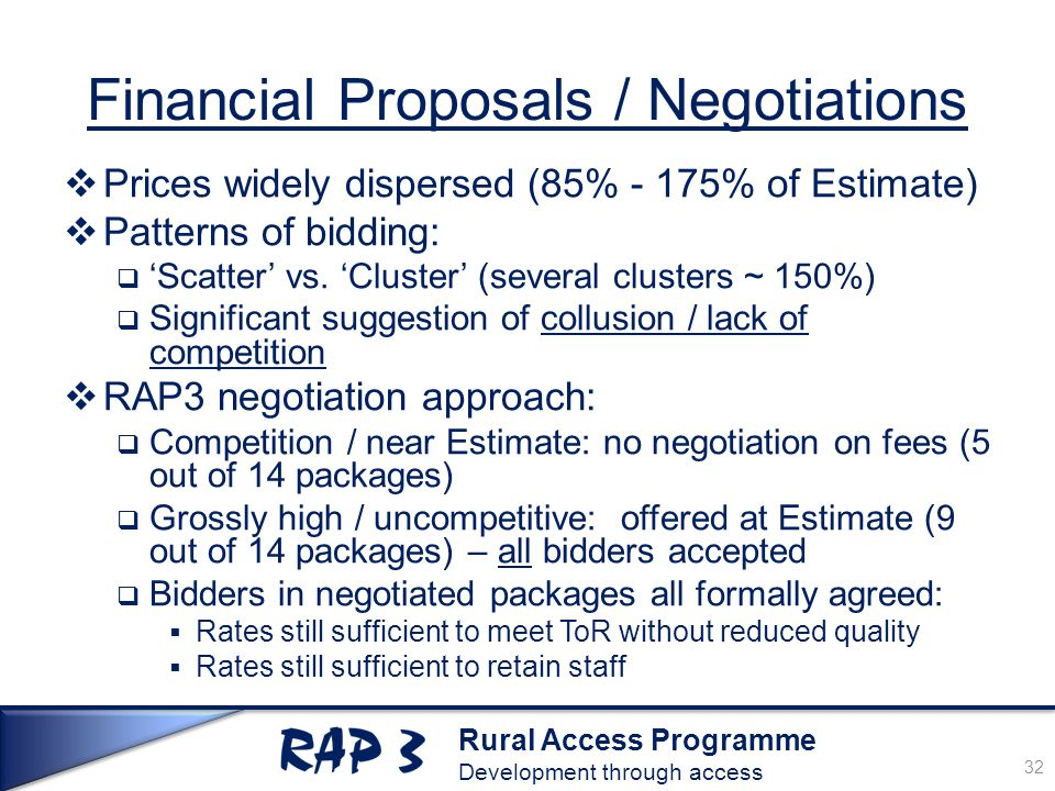 Rural Access Programme Development through access Financial Proposals / Negotiations  Prices widely dispersed (85% - 175% of Estimate)  Patterns of bidding:  'Scatter' vs.