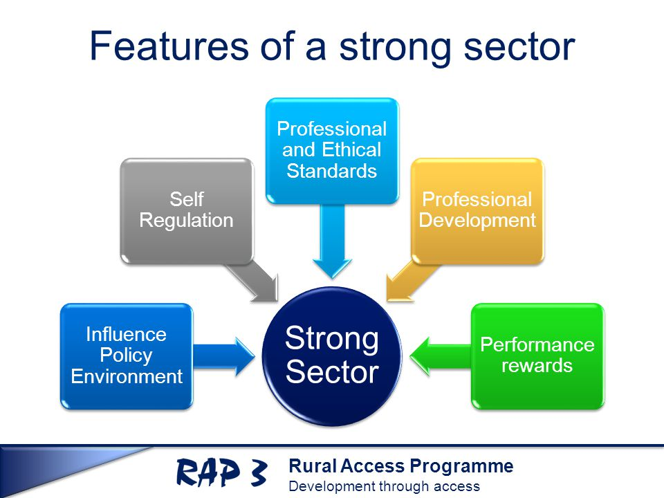 Rural Access Programme Development through access Features of a strong sector Strong Sector Influence Policy Environment Self Regulation Professional and Ethical Standards Professional Development Performance rewards