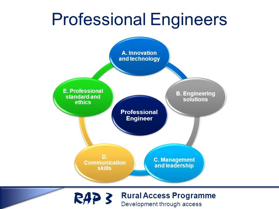 Rural Access Programme Development through access Professional Engineers Professional Engineer A.
