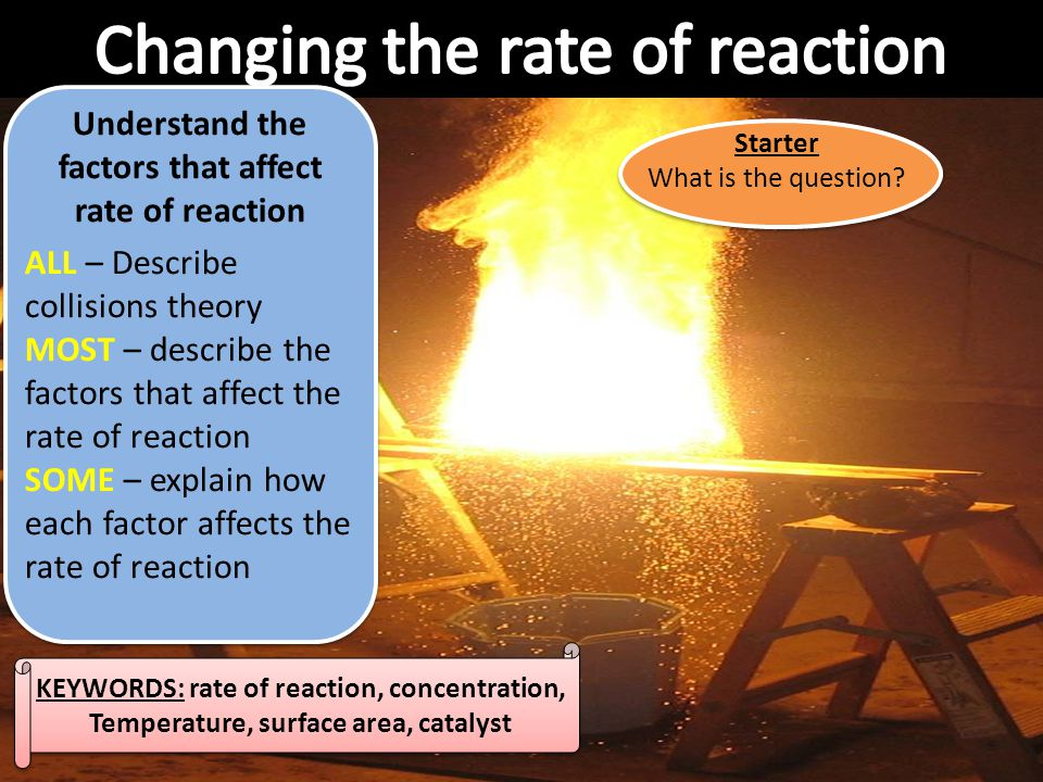 Starter Write the questions that go with the answers below: 1)It is how quickly reactants are turned into products 2)They are a type of plastic which can be moulded again and again by heating them up 3)They are a type of plastic which, once cooled and formed, can not be moulded again 4)It is a long chain molecule made by linking together lots of smaller molecules 5)It is a small molecule that is linked together with lots of the same molecule to make a polymer chain LO: Understand what is meant by rate of reaction