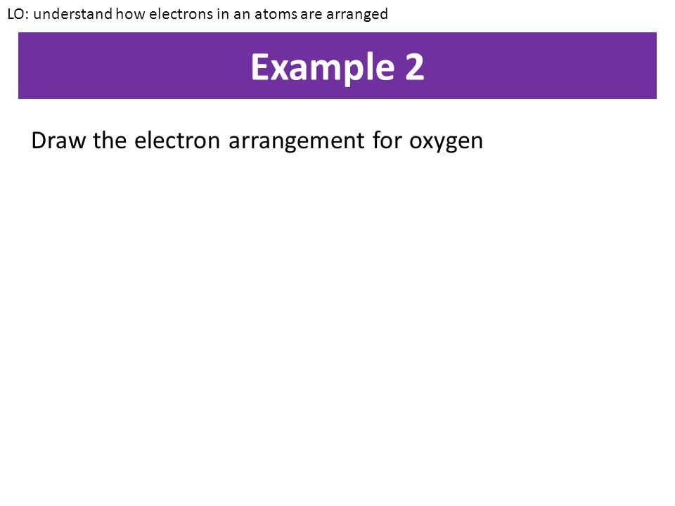 Example 1 Draw the electron arrangement for sodium LO: understand how electrons in an atoms are arranged