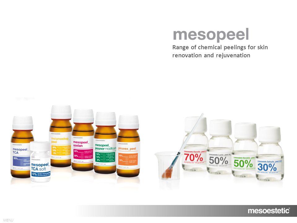 MENU Range of chemical peelings for skin renovation and rejuvenation