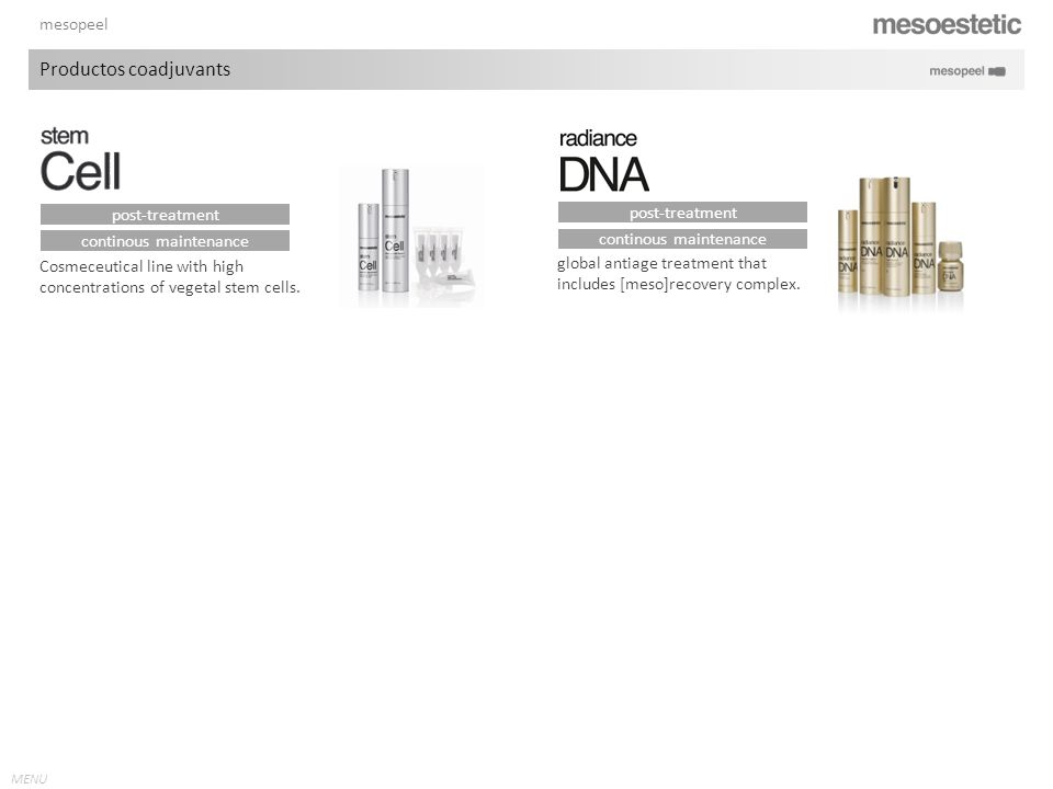 MENU mesopeel Cosmeceutical line with high concentrations of vegetal stem cells. global antiage treatment that includes [meso]recovery complex. contin
