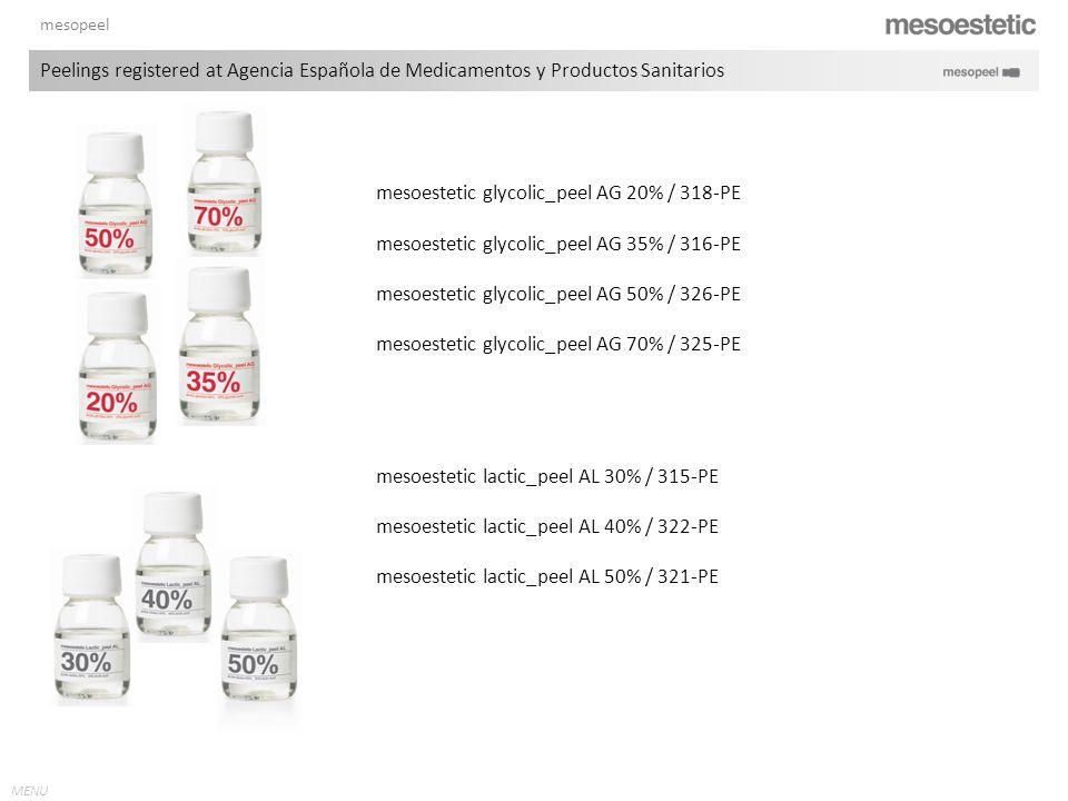 MENU mesopeel mesoestetic glycolic_peel AG 20% / 318-PE mesoestetic glycolic_peel AG 35% / 316-PE mesoestetic glycolic_peel AG 50% / 326-PE mesoesteti