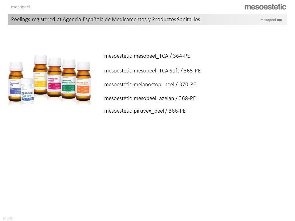 MENU mesopeel mesoestetic melanostop_peel / 370-PE mesoestetic mesopeel_azelan / 368-PE mesoestetic mesopeel_TCA / 364-PE mesoestetic mesopeel_TCA Sof