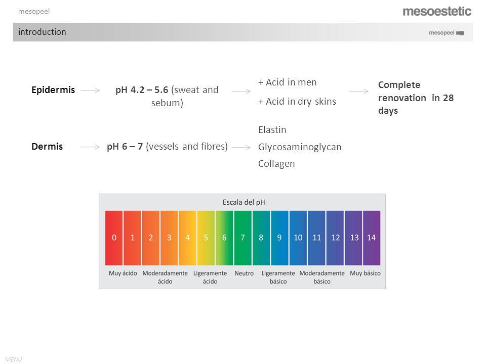 MENU mesopeel introduction Epidermis pH 4.2 – 5.6 (sweat and sebum) + Acid in men + Acid in dry skins Complete renovation in 28 days Dermis pH 6 – 7 (