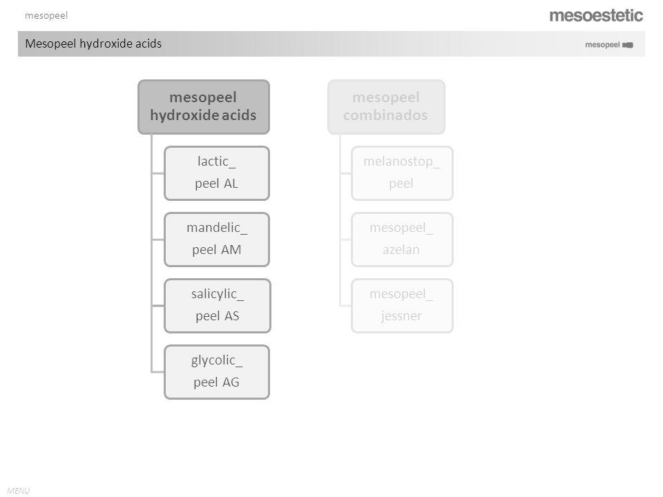 MENU mesopeel Mesopeel hydroxide acids mesopeel hydroxide acids lactic_ peel AL mandelic_ peel AM salicylic_ peel AS glycolic_ peel AG mesopeel combin