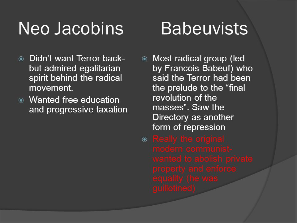 Neo Jacobins Babeuvists  Didn't want Terror back- but admired egalitarian spirit behind the radical movement.  Wanted free education and progressive