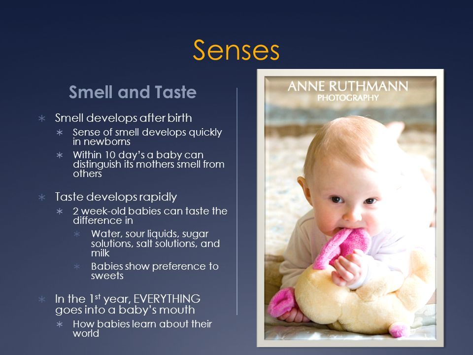 Senses Smell and Taste  Smell develops after birth  Sense of smell develops quickly in newborns  Within 10 day's a baby can distinguish its mothers