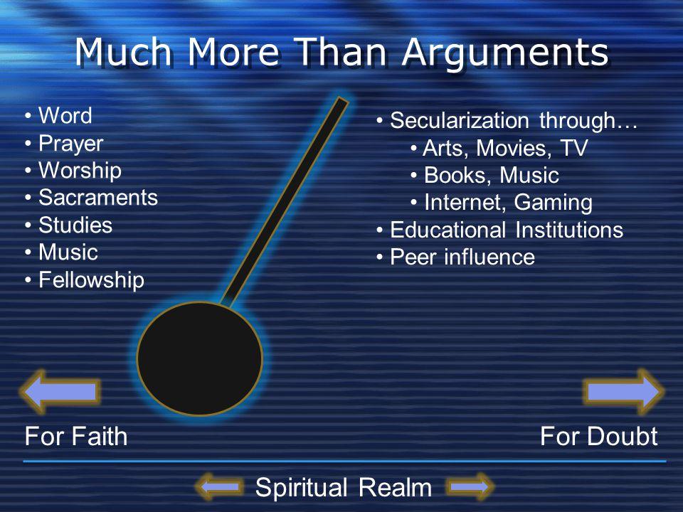 Much More Than Arguments For FaithFor Doubt Word Prayer Worship Sacraments Studies Music Fellowship Secularization through… Arts, Movies, TV Books, Mu