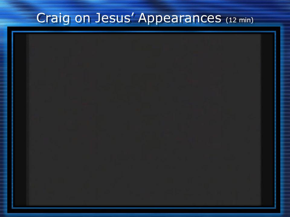 Craig on Jesus' Appearances (12 min)