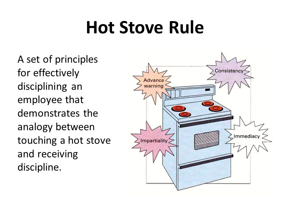 Hot Stove Rule A set of principles for effectively disciplining an employee that demonstrates the analogy between touching a hot stove and receiving discipline.
