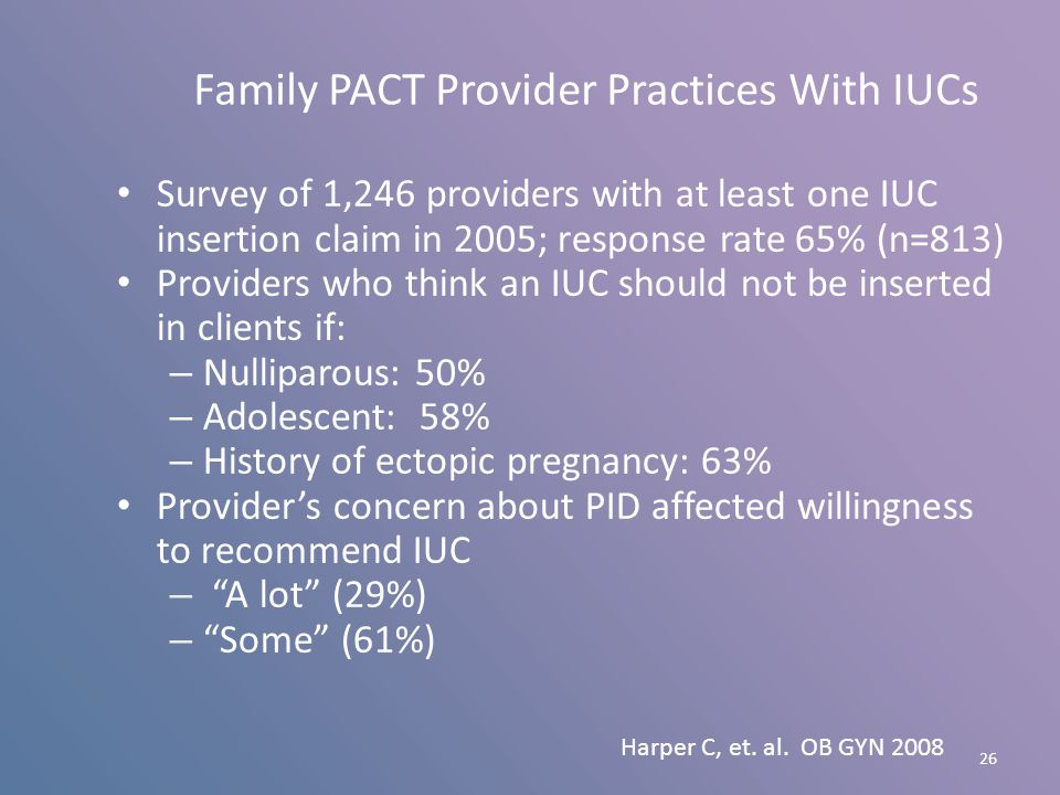 26 Family PACT Provider Practices With IUCs Survey of 1,246 providers with at least one IUC insertion claim in 2005; response rate 65% (n=813) Provide