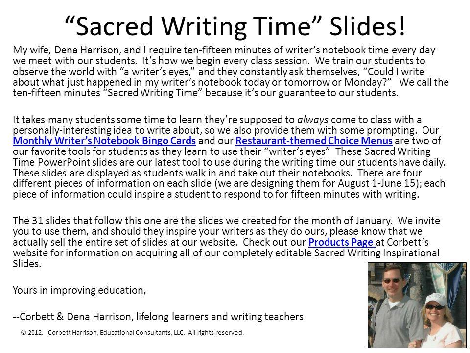 Sacred Writing Time Slides.