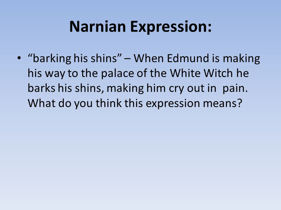 """Narnian Expression: """"barking his shins"""" – When Edmund is making his way to the palace of the White Witch he barks his shins, making him cry out in pai"""