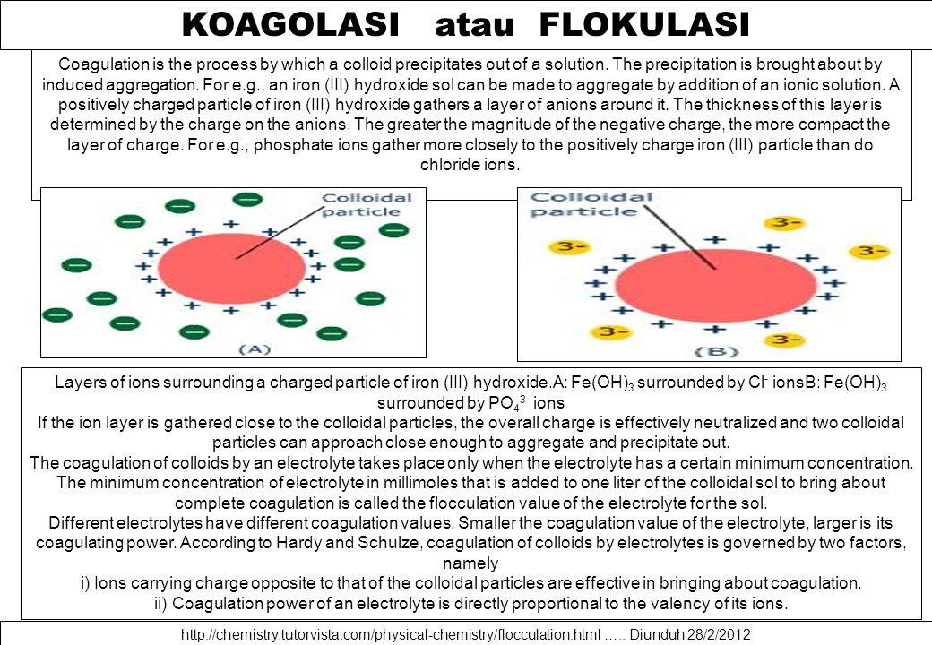 KOAGOLASI atau FLOKULASI http://chemistry.tutorvista.com/physical-chemistry/flocculation.html …..