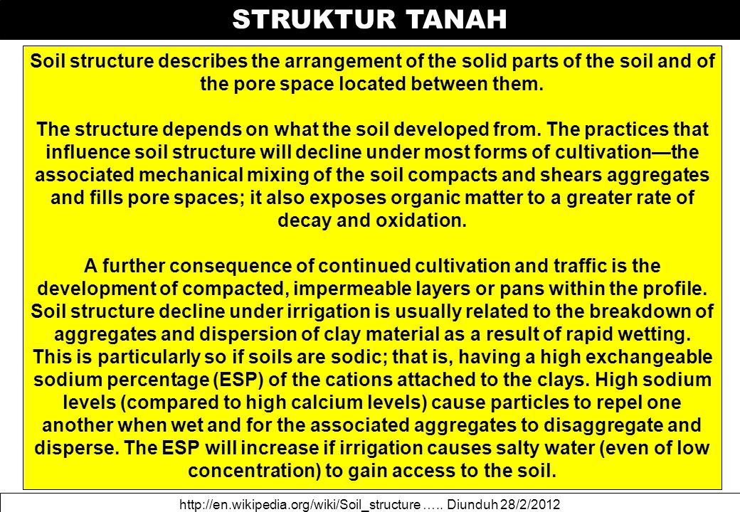 STRUKTUR TANAH http://en.wikipedia.org/wiki/Soil_structure ….. Diunduh 28/2/2012 Soil structure describes the arrangement of the solid parts of the so