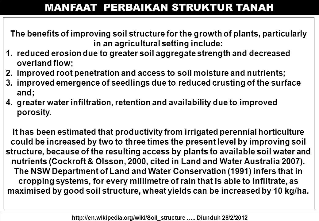 MANFAAT PERBAIKAN STRUKTUR TANAH http://en.wikipedia.org/wiki/Soil_structure …..