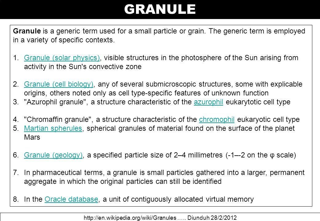 GRANULE http://en.wikipedia.org/wiki/Granules …..