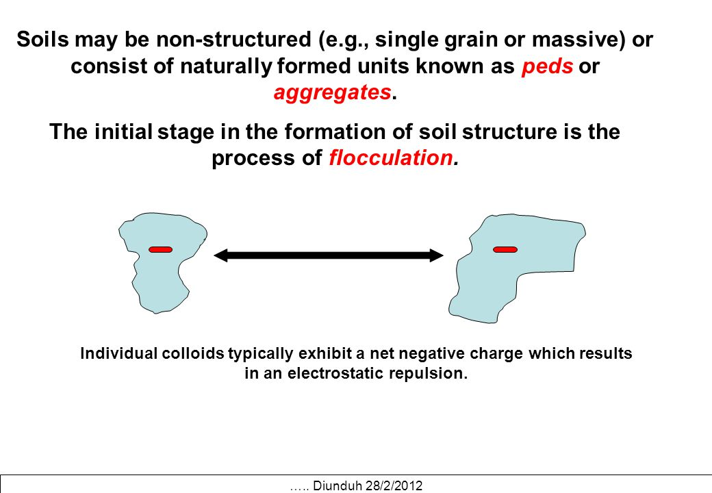 Soils may be non-structured (e.g., single grain or massive) or consist of naturally formed units known as peds or aggregates. The initial stage in the
