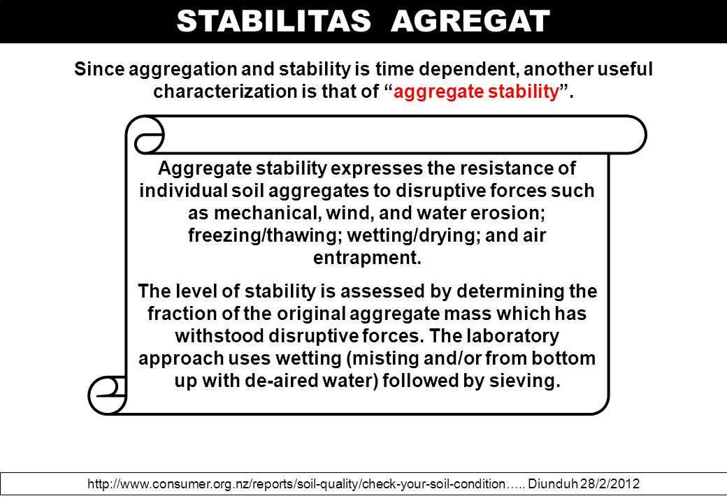 Since aggregation and stability is time dependent, another useful characterization is that of aggregate stability .