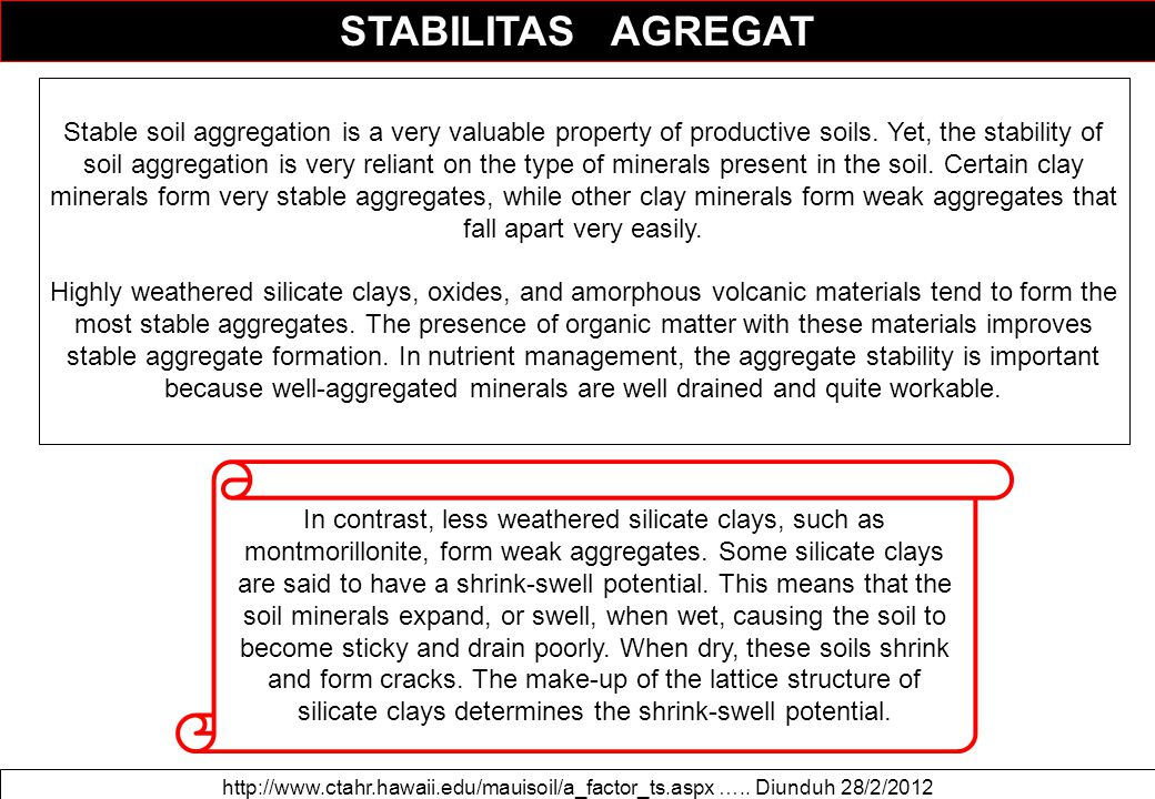 STABILITAS AGREGAT Stable soil aggregation is a very valuable property of productive soils. Yet, the stability of soil aggregation is very reliant on
