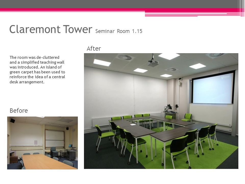 Ridley Building Seminar Room 1.42 Before After