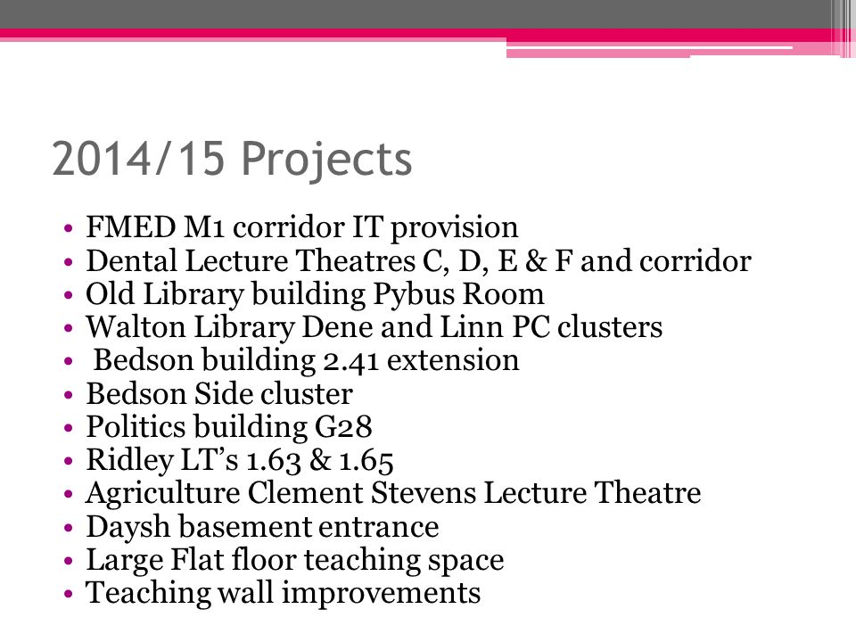 2014/15 Projects FMED M1 corridor IT provision Dental Lecture Theatres C, D, E & F and corridor Old Library building Pybus Room Walton Library Dene an