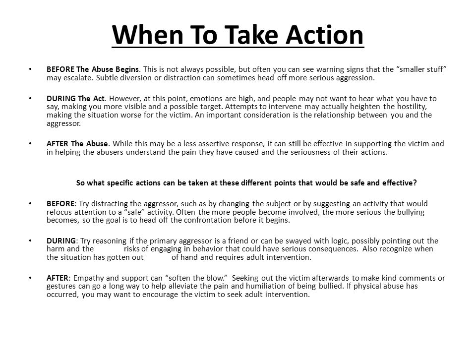 When To Take Action BEFORE The Abuse Begins.