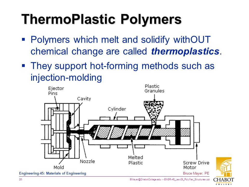 BMayer@ChabotCollege.edu ENGR-45_Lec-29_PolyMer_Structures.ppt 26 Bruce Mayer, PE Engineering-45: Materials of Engineering ThermoPlastic Polymers  Polymers which melt and solidify withOUT chemical change are called thermoplastics.