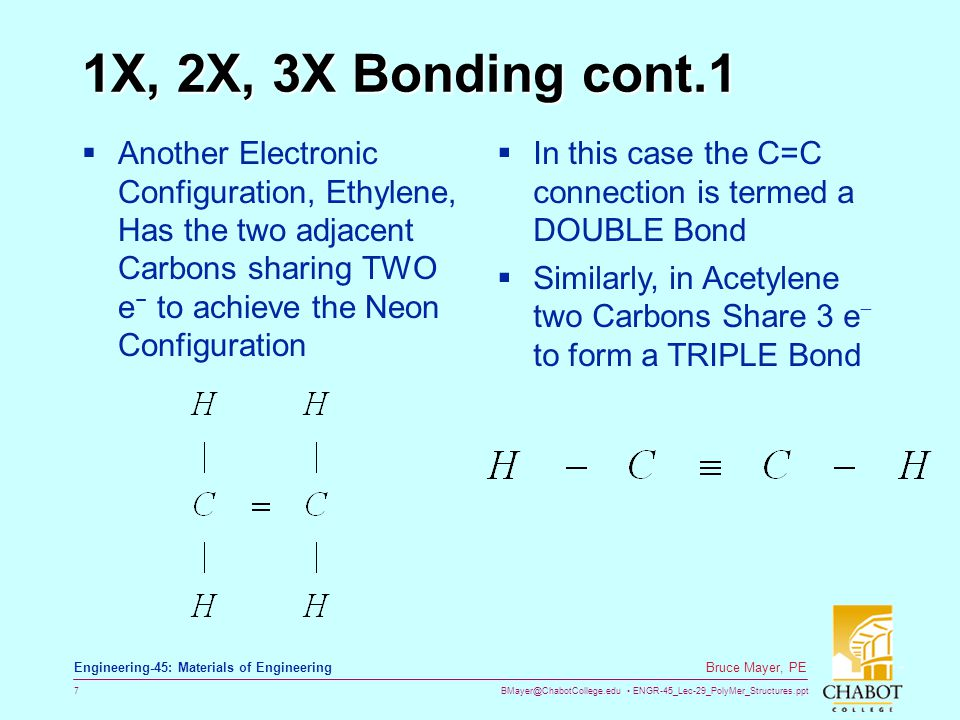 BMayer@ChabotCollege.edu ENGR-45_Lec-29_PolyMer_Structures.ppt 7 Bruce Mayer, PE Engineering-45: Materials of Engineering 1X, 2X, 3X Bonding cont.1 