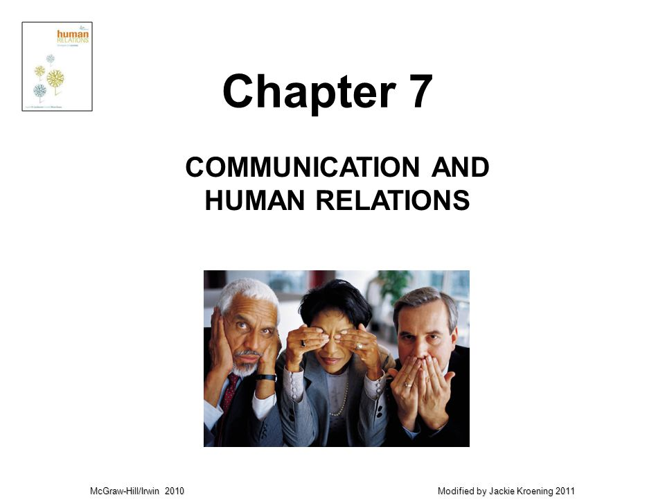 McGraw-Hill/Irwin 2010 Modified by Jackie Kroening 2011 COMMUNICATION AND HUMAN RELATIONS Chapter 7