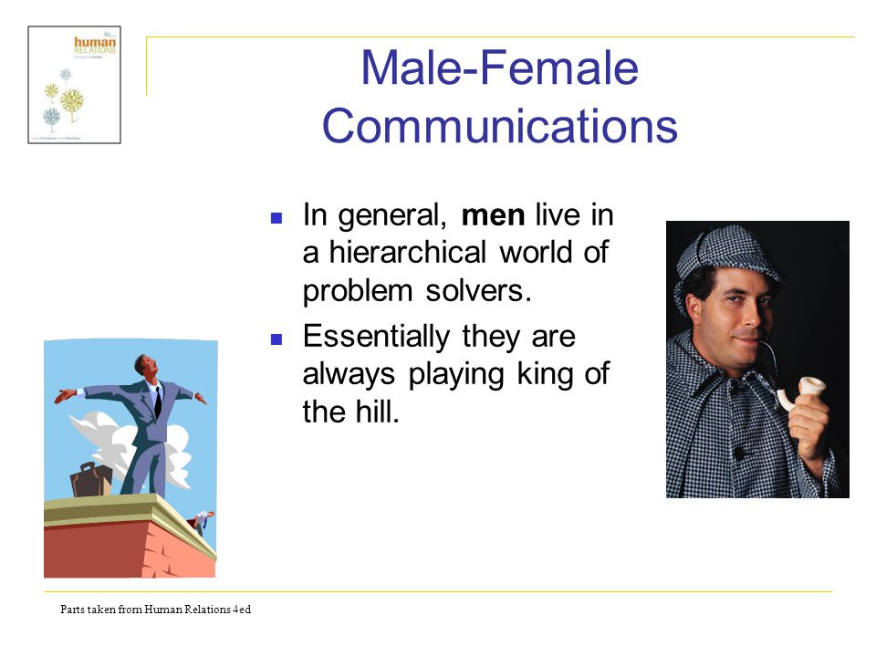 Parts taken from Human Relations 4ed Male-Female Communications Men tend to look at each encounter to evaluate whether they are up or down a status point.