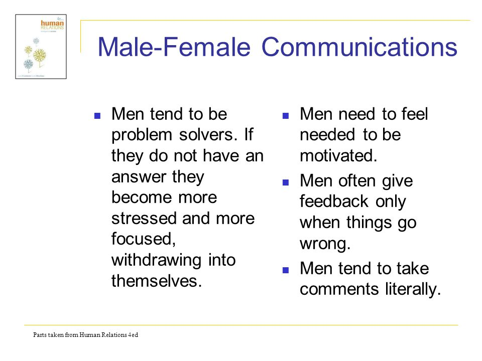 Parts taken from Human Relations 4ed Male-Female Communications Men tend to be problem solvers.