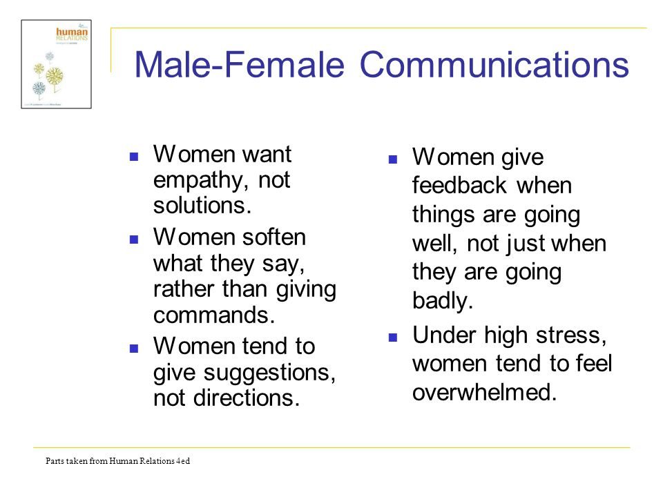 Parts taken from Human Relations 4ed Male-Female Communications When frustrated, women tend to use closed words.